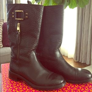 Tory Burch Stowe black leather boots